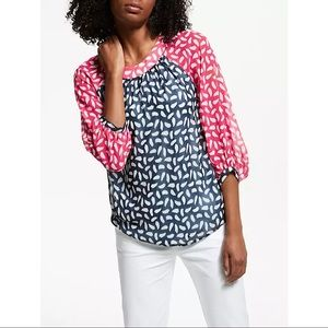 Boden-Sylvie Two Tone Pink/Navy Blouse